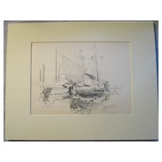 Harry A Vincent (1864-1931) END OF DAY VENICE original drawing listed Rockport artist