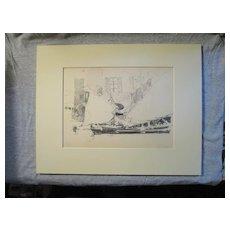 Harry A Vincent (1864-1931) CHIOGGA FISHING BOAT original drawing listed Rockport artist