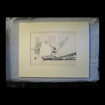 Harry A Vincent (1864-1931) CHIOGGA FISHING BOAT original drawing listed Rockport artist