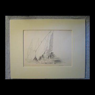 Harry A Vincent (1864-1931) DRYING SAILS CHIOGGA original drawing listed Rockport artist