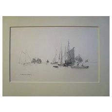 Harry A Vincent (1864-1931) SETTING OFF GLOUCESTER original drawing listed Rockport artist