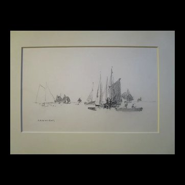 Harry A Vincent (1864-1931) SETTING OFF GLOUCESTER original drawing listed Rockport artist