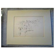 Harry A Vincent (1864-1931) GLOUCESTER WHARF original drawing listed Rockport artist