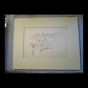 Harry A Vincent (1864-1931) GLOUCESTER WHARF original drawing listed Rockport artist