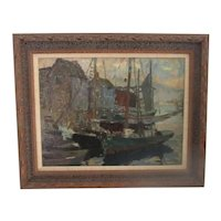 """Gloucester Fishing Schooners"" Alfred Vance Churchill (Am 1864-1949) listed Cape Ann MA artist"