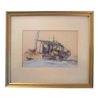 "Marshall Joyce (1912-1998)"" LOBSTERING"" watercolor listed artist"