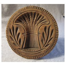 Antique Wooden Butter Mold SHEAF OF WHEAT Lancaster County PA Dutch orig AAFA