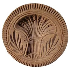 Antique Wooden Butter Mold SHEAF OF WHEAT Lancaster County PA Dutch orig AAFA #2