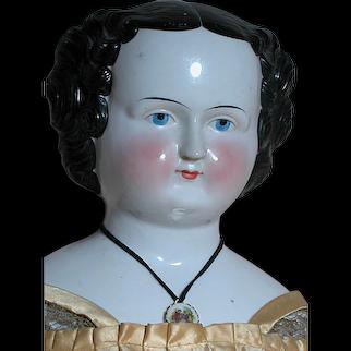 Huge Antique China Flat Top Shoulder Head Wonderful Outfit