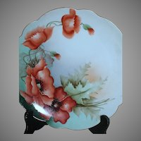 Austrian Hand Painted Plate  Vibrant Burnt Orange Poppies  Crown Vienna Austria