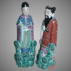 Vintage Chinese Figurines Famille Rose Imortals  Small Man and Women Figures