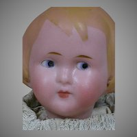 German Bisque Character Doll  R/A Molded Hair  Small Cabinet Size doll