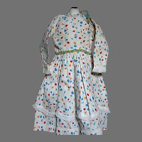 Vintage Cotton Print Doll Dress Braided Trim with Lace & Fringe  Very Nice Dress