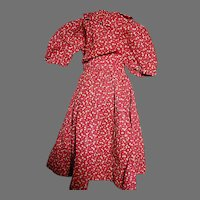 Old Doll Dress Red yellow Print Dress Cotton  Excellent Colors