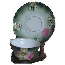 R. S.Prussian Cup and Saucer  Floral Design With raised Iris Flower