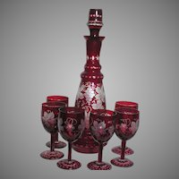 Bohemian Glass Decanter &  6 Matching Wine Glasses  Red Cut back to Clear Grape Leaf Design