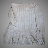 Antique White Cotton Doll Dress for Larger Doll