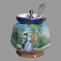 Vintage Pearlwhite Bohemia  Hand painted Gainsborough Jelly or Jam Jar  with Silver Plate Lid and Spoon