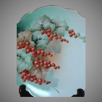 Austrian Hand Painted Plate Red Currents with Leaves Crown Vienna Austria Mark