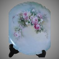 Haviland France Hand Painted  Plate  signed B L B  shades of Pink White Red and Green
