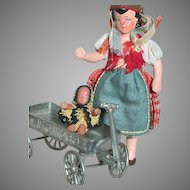 Miniature German Dollhouse Doll with Wagon & Two  Baby's with Crochet Outfits