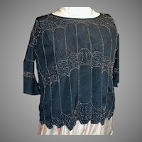 Vintage Black  with a Beaded Design  Women Top