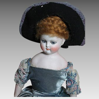 Antique German Fashion Doll Dome Head Kid Body Bisque Hands Blue Paperweight Eyes
