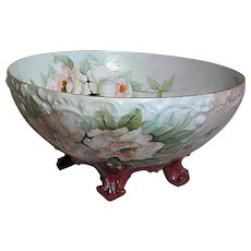 Limoges Beautiful Footed Punch Bowl with Pink and White Roses Signed H L Nixon