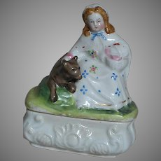 Antique Fairing Quality China Box  Girl with Basket With Dog by Her Side
