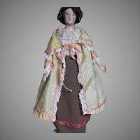 Antique Papier-mâché  Doll Painted Features Old Clothes  Original Wig & Hat