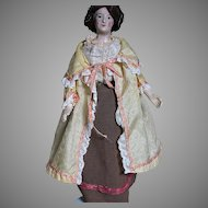 Antique Papier-mâché  Doll Painted Features Old Clothes  Original Wig & Hat