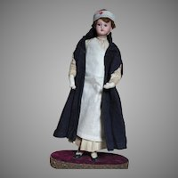 Antique Doll French Red Cross Nurse Doll All Original and on Decorative Base