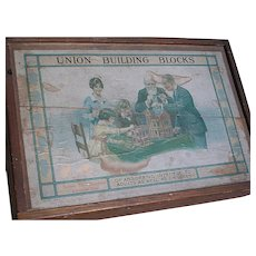 Union Stone Building Block Set in Wood Box  Made in Germany  1800s