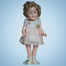 Composition Ideal Shirley Temple Doll  All Original Outfit and  Shoes  and with Pin