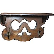 Decorative Wood Clock Wall Shelf or Kitchen Spice with  Coat Hooks   Walnut