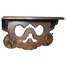 Decorative Wood Clock Wall Shelf or Kitchen Spice with  Coat Hooks   Walnut