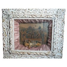 Antique  Religious Wax Baby Jesus in Framed Shadow Box