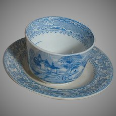 Antique Staffordshire Blue & White Handleless Cup & Saucer