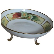 Beautiful Marked Nippon Hand painted Footed Bowl with Gold