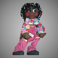 "Vintage Very Large Black Cloth Doll  Plaited Braids 38"" tall"