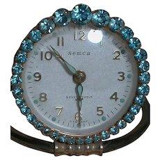 Semca German Made Alarm Clock Blue Rhinestone trim Seven Jewels Vintage