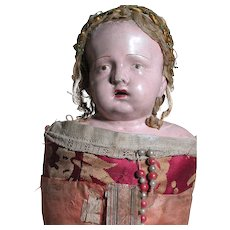 """Papier Mache  Figure Of Infant Jesus in Swaddling Clothes  Original and 18 Century  21"""" Tall - Red Tag Sale Item"""