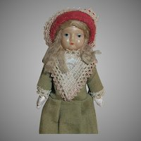 German Celluloid Shoulder Head Doll Composition Cloth body  Original Clothes 8""