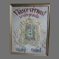 Antique Framed Hand Made  Religious Picture Czech Words  Picture of Lady with a Cherub in Celluloid