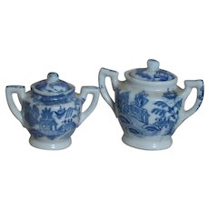 Childrens Porcelain Two Sugar Bowl   Blue Willow Pattern  Occupied Japan