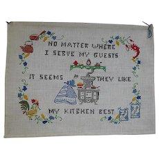 Vintage Cross Stitch Sampler Hanging Kitchen Theme  Well Done