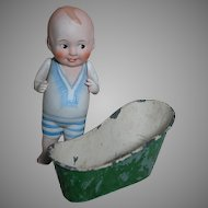 Antique All Bisque Doll in Molded Bathing Suit with Tin Tub