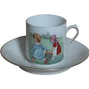 Childrens Jack and Jill  Nursery Rhyme Cup and Saucer German