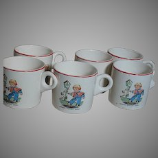 Vintage Six Childrens Porcelain Cups Hickory Dickory Dock Rhyme
