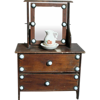 Antique Wood Mirrored  Doll Wash Stand  White Porcelain knobs